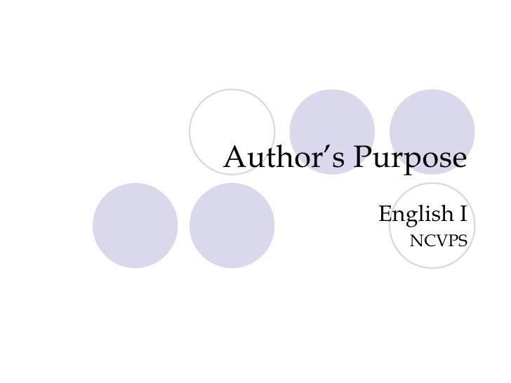 Author's Purpose English I NCVPS