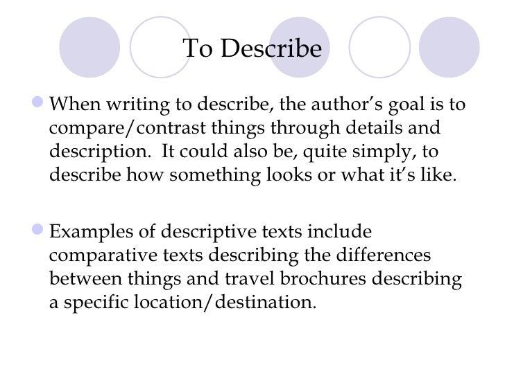 writing to describe examples