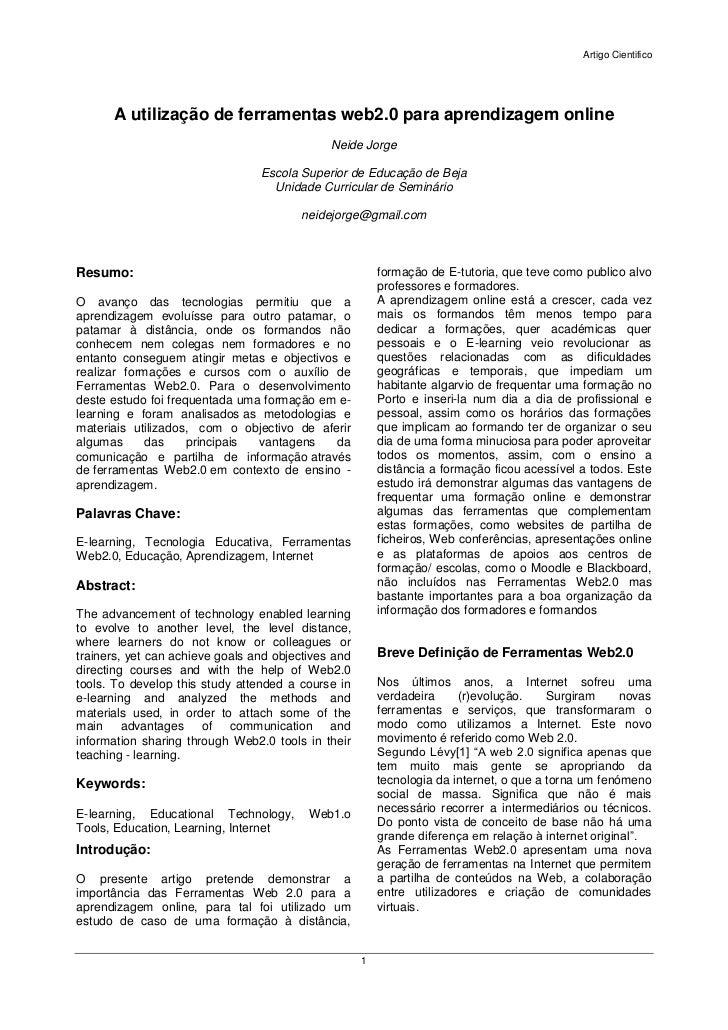 Artigo Cientifico      A utilização de ferramentas web2.0 para aprendizagem online                                        ...