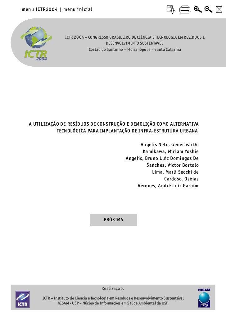 menu ICTR20 04 | menu inic ial                     ICTR 2004 – CONGRESSO BRASILEIRO DE CIÊNCIA E TECNOLOGIA EM RESÍDUOS E ...