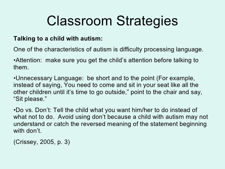 teaching strategies for autism essay Academiaedu is a platform for academics to share research papers skip to research based teaching strategies: autism.