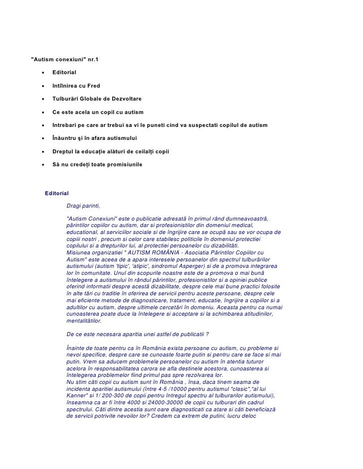 """""""Autism conexiuni"""" nr.1   •     Editorial   •     Intîlnirea cu Fred   •     Tulburări Globale de Dezvoltare   •     Ce es..."""
