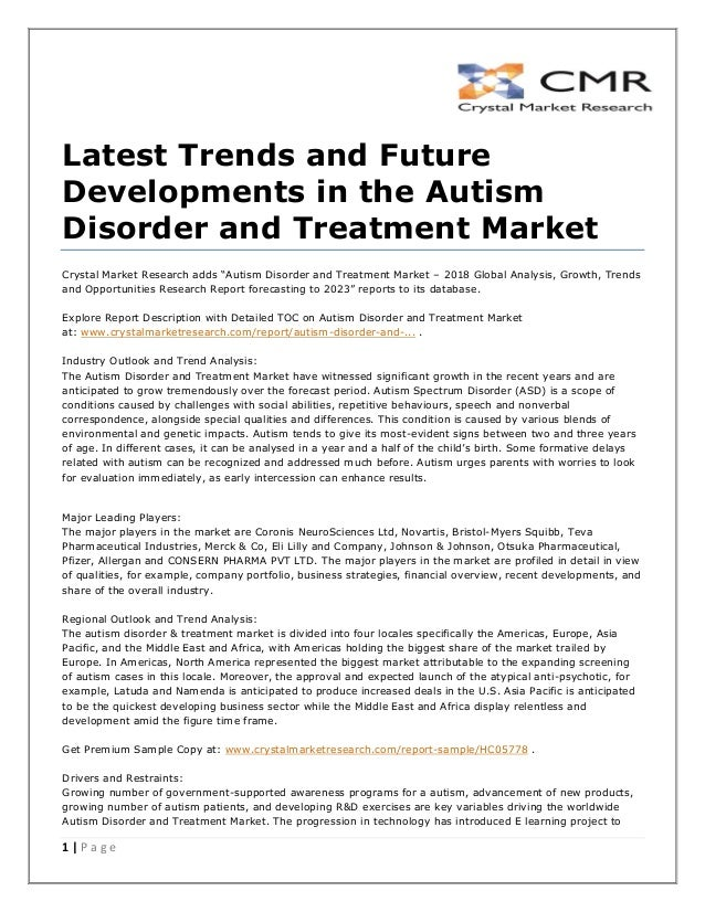New Study Adds Key Piece To Autism >> Autism Disorder And Treatment Market Present Scenario And