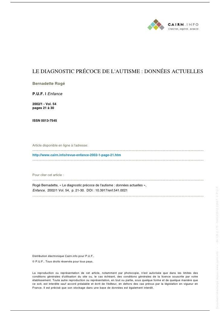 LE DIAGNOSTIC PRÉCOCE DE LAUTISME : DONNÉES ACTUELLES                                                                     ...