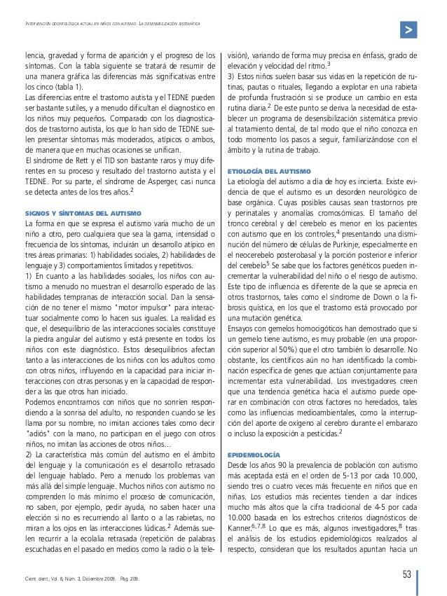 53 Intervención odontológica actual en niños con autismo. La desensibilización sistemática > lencia, gravedad y forma de a...