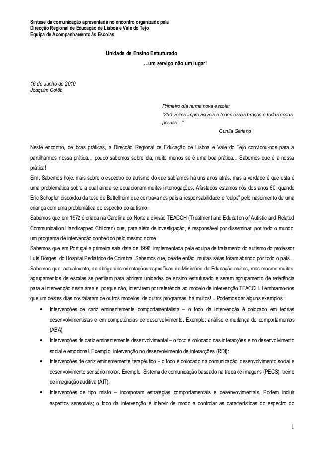 Síntese da comunicação apresentada no encontro organizado pela Direcção Regional de Educação de Lisboa e Vale do Tejo Equi...