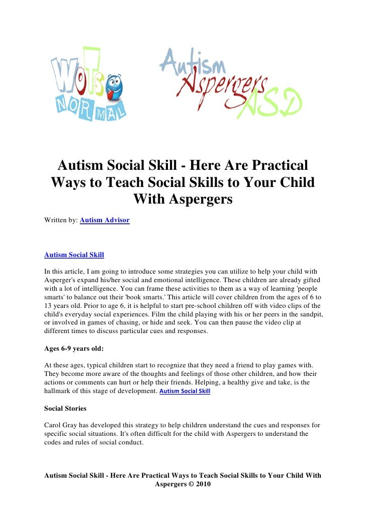 People with Aspergers learn social skills backwards?