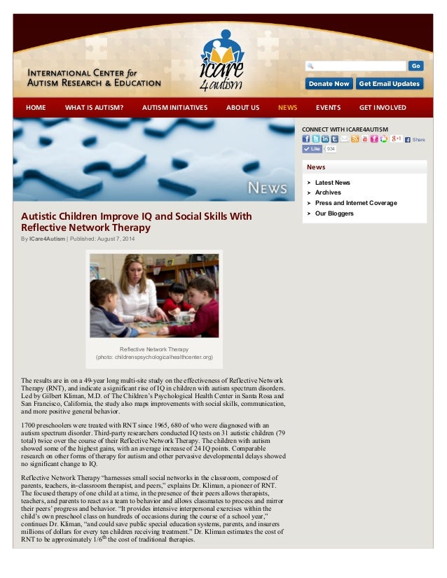 Autistic Children Improve IQ and Social Skills with Reflective Network Therapy