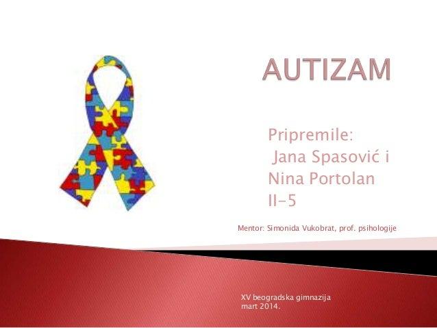 Pripremile: Jana Spasović i Nina Portolan II-5 Mentor: Simonida Vukobrat, prof. psihologije  XV beogradska gimnazija mart ...