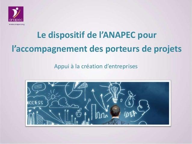 Le dispositif de l'ANAPEC pour l'accompagnement des porteurs de projets www.anapec.org Appui à la création d'entreprises