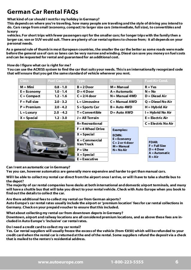 Driving Requirements For Germany To Rent A Car