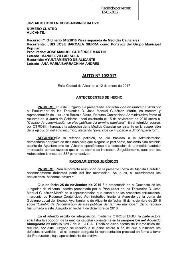 Recibidopor lexnet 12-01-2017 JUZGADO CONTENCIOSO-ADMINISTRATIVO NÚMERO CUATRO ALICANTE. Recurso nº: Ordinario 648/2016 Pi...