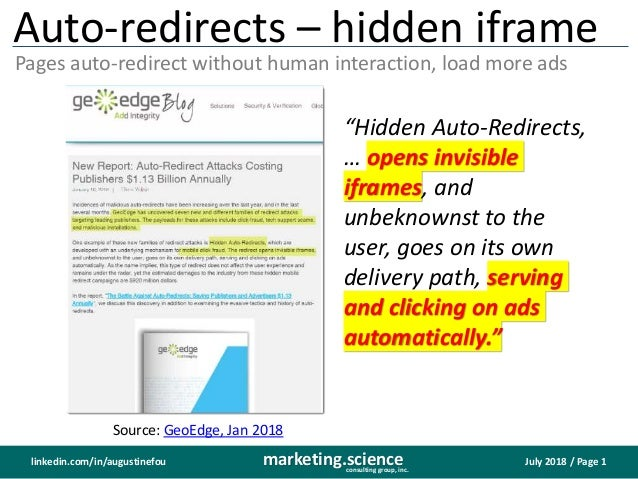 July 2018 / Page 1marketing.scienceconsulting group, inc. linkedin.com/in/augustinefou Auto-redirects – hidden iframe Page...