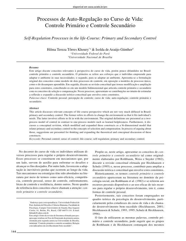 disponível em www.scielo.br/prc                         Processos de Auto-Regulação no Curso de Vida:                     ...