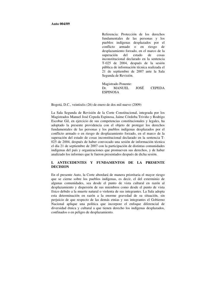 Auto 004/09                                   Referencia: Protección de los derechos                                   fun...