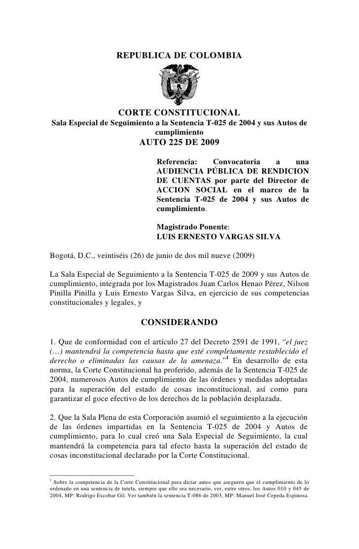 REPUBLICA DE COLOMBIA                            CORTE CONSTITUCIONALSala Especial de Seguimiento a la Sentencia T-025 de ...