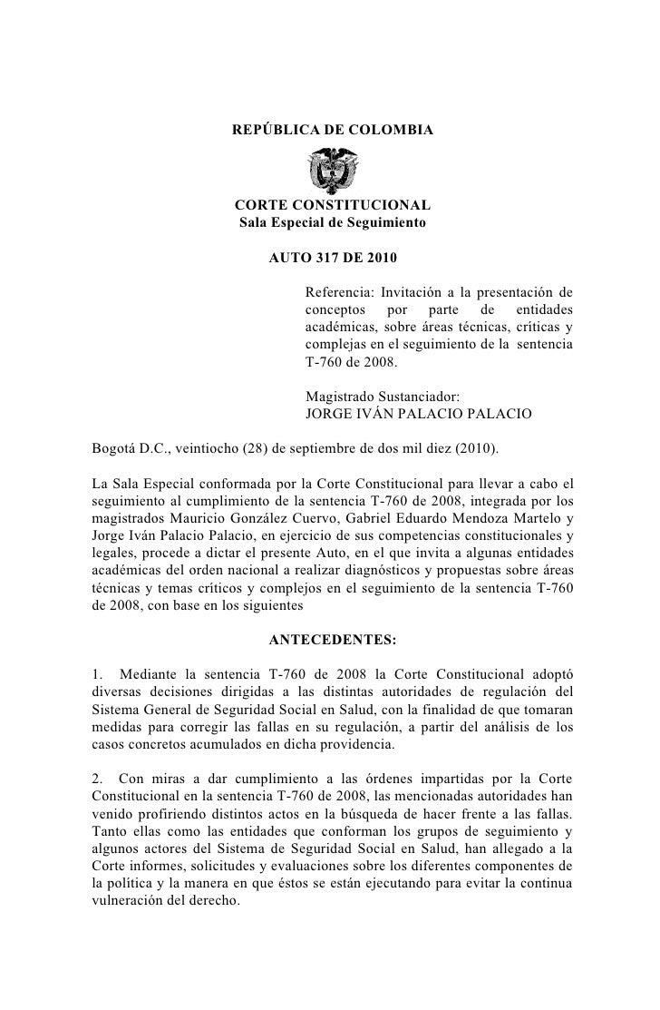 REPÚBLICA DE COLOMBIA                            CORTE CONSTITUCIONAL                        Sala Especial de Seguimiento ...