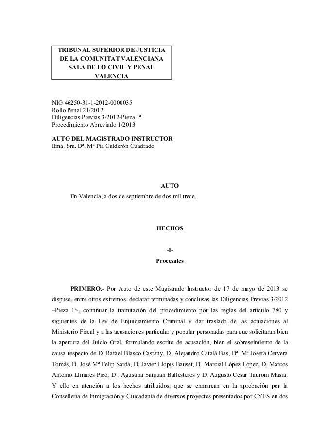 TRIBUNAL SUPERIOR DE JUSTICIA DE LA COMUNITAT VALENCIANA SALA DE LO CIVIL Y PENAL VALENCIA NIG 46250-31-1-2012-0000035 Rol...