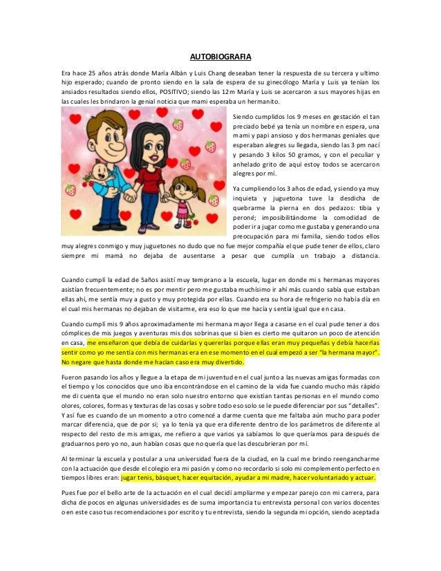 AUTOBIOGRAFIA  Era hace 25 años atrás donde María Albán y Luis Chang deseaban tener la respuesta de su tercera y ultimo  h...
