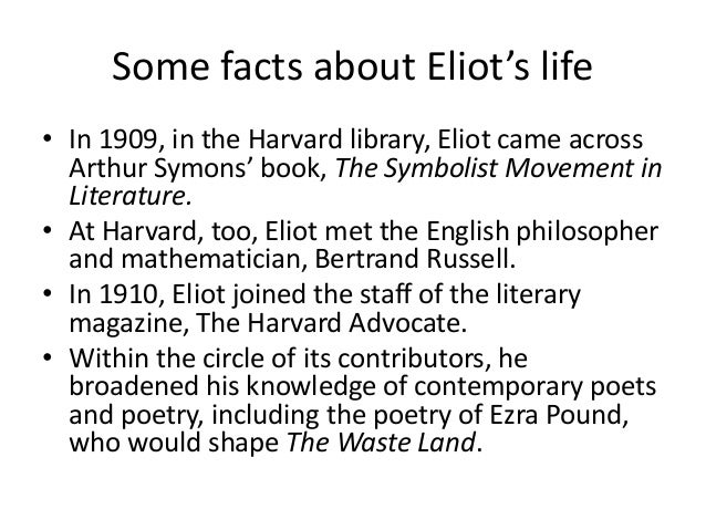 t s eliot's the waste land How are issues of faith or belief represented in tseliot's the waste land faith and belief, or the lack of it, has always played a.