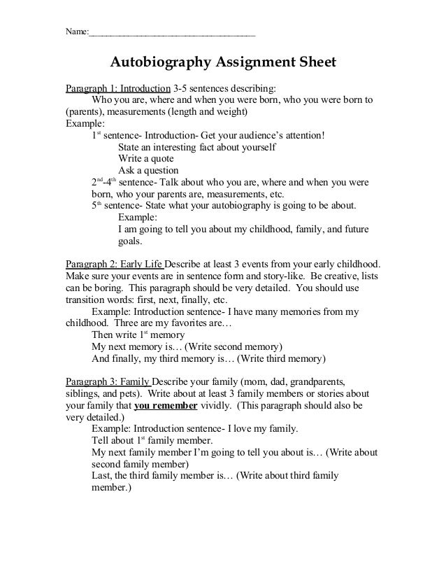 Scaffold writing assignments biography