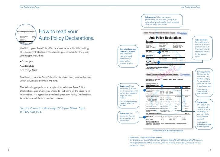 1 3 your declarations page your declarations page policy