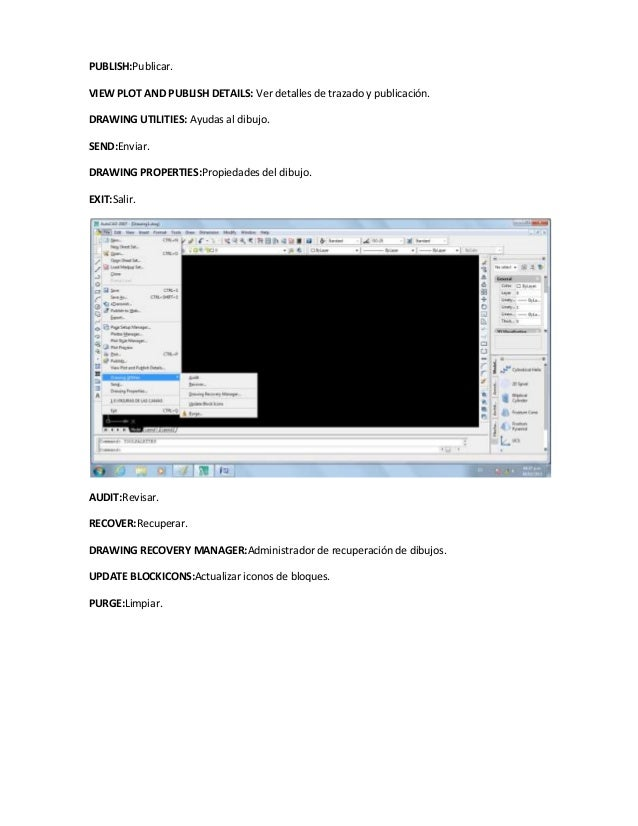 PUBLISH:Publicar.VIEW PLOT AND PUBLISH DETAILS: Ver detalles de trazado y publicación.DRAWING UTILITIES: Ayudas al dibujo....