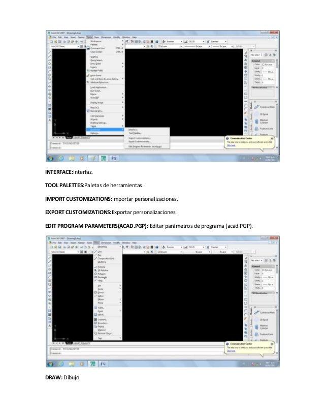 INTERFACE:Interfaz.TOOL PALETTES:Paletas de herramientas.IMPORT CUSTOMIZATIONS:Importar personalizaciones.EXPORT CUSTOMIZA...