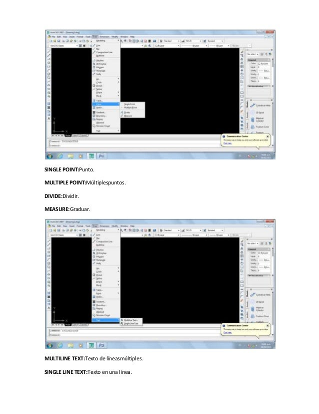 SINGLE POINT:Punto.MULTIPLE POINT:Múltiplespuntos.DIVIDE:Dividir.MEASURE:Graduar.MULTILINE TEXT:Texto de líneasmúltiples.S...