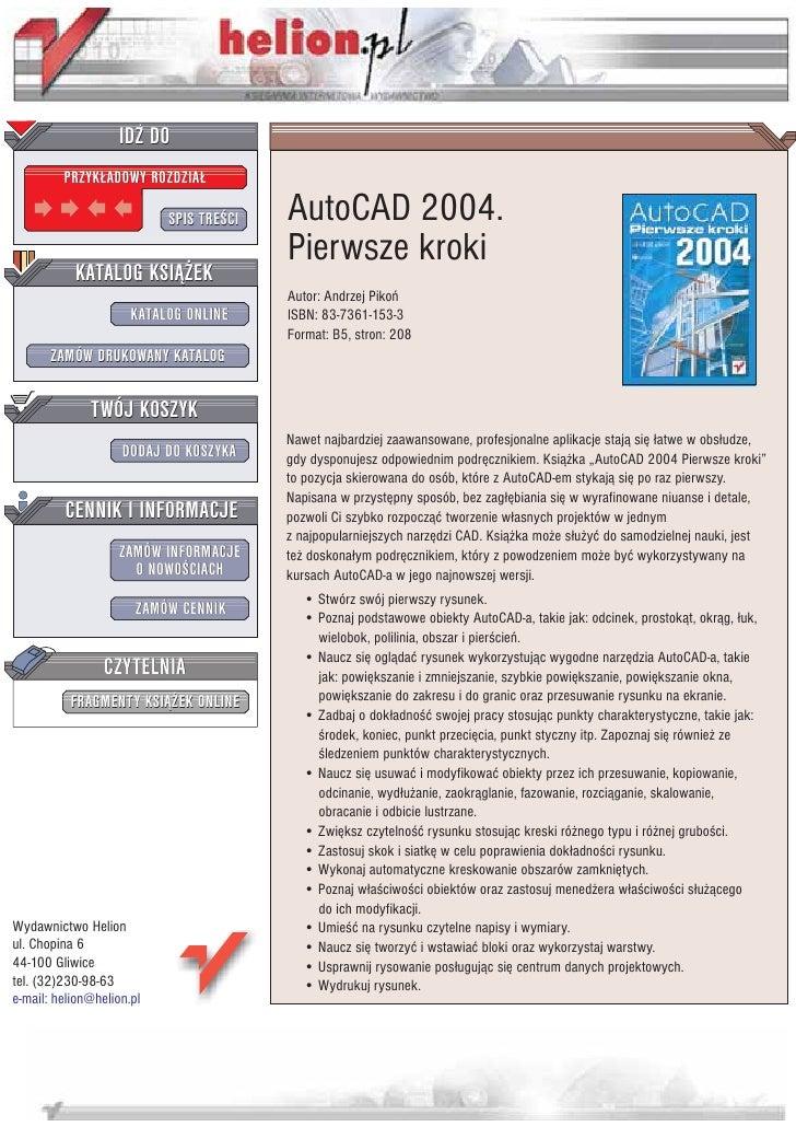 IDZ DO          PRZYK£ADOWY ROZDZIA£                             SPIS TRE CI   AutoCAD 2004.                              ...