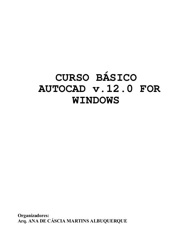 CURSO BÁSICO AUTOCAD v.12.0 FOR WINDOWS Organizadores: Arq. ANA DE CÁSCIA MARTINS ALBUQUERQUE