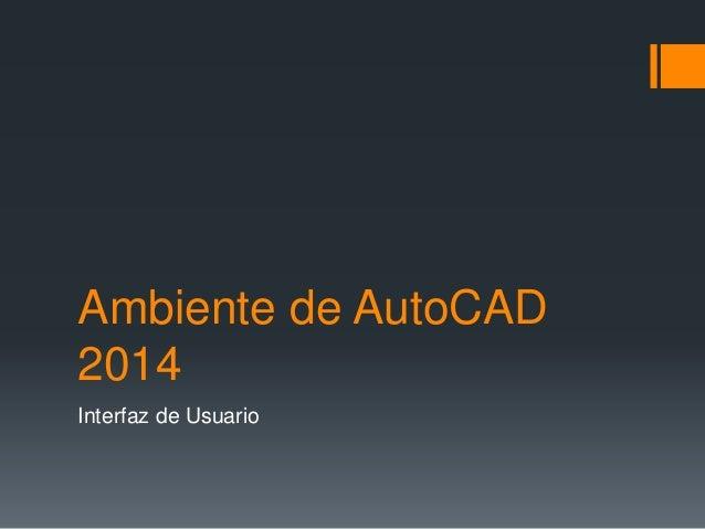 Ambiente de AutoCAD 2014 Interfaz de Usuario