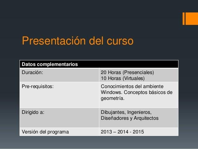 Presentación del curso Datos complementarios Duración: 20 Horas (Presenciales) 10 Horas (Virtuales) Pre-requisitos: Conoci...
