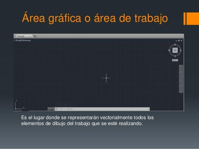Área gráfica o área de trabajo Es el lugar donde se representarán vectorialmente todos los elementos de dibujo del trabajo...