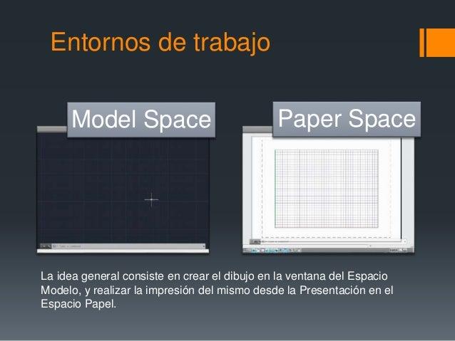 Entornos de trabajo Model Space Paper Space La idea general consiste en crear el dibujo en la ventana del Espacio Modelo, ...