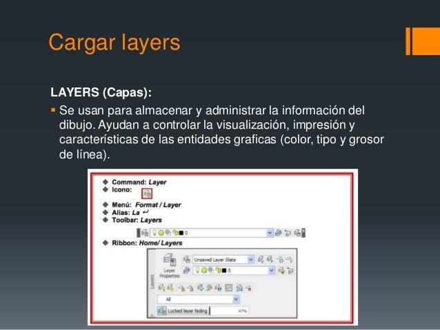 Cargar layers LAYERS (Capas):  Se usan para almacenar y administrar la información del dibujo. Ayudan a controlar la visu...