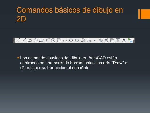 Comandos básicos de dibujo en 2D  Los comandos básicos del dibujo en AutoCAD están centrados en una barra de herramientas...