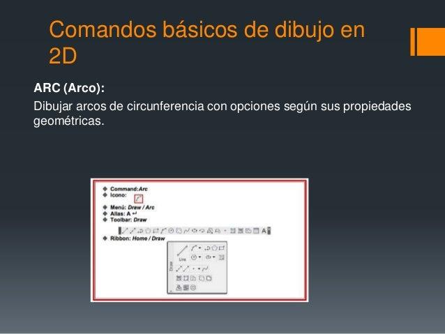Comandos básicos de dibujo en 2D ARC (Arco): Dibujar arcos de circunferencia con opciones según sus propiedades geométrica...