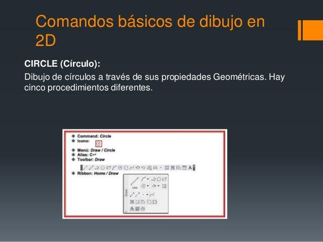 Comandos básicos de dibujo en 2D CIRCLE (Círculo): Dibujo de círculos a través de sus propiedades Geométricas. Hay cinco p...
