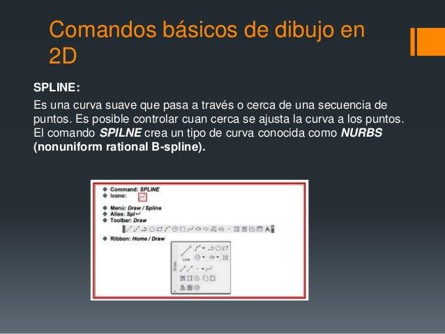 Comandos básicos de dibujo en 2D SPLINE: Es una curva suave que pasa a través o cerca de una secuencia de puntos. Es posib...