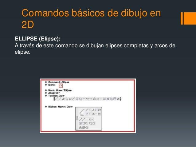 Comandos básicos de dibujo en 2D ELLIPSE (Elipse): A través de este comando se dibujan elipses completas y arcos de elipse.
