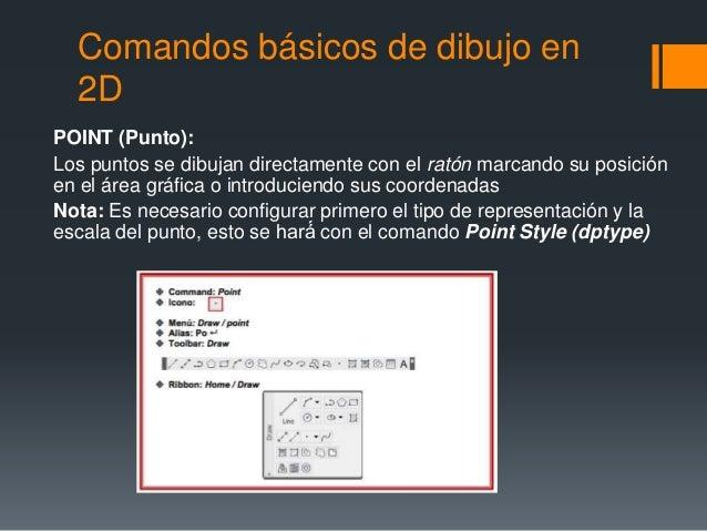 Comandos básicos de dibujo en 2D POINT (Punto): Los puntos se dibujan directamente con el ratón marcando su posición en el...