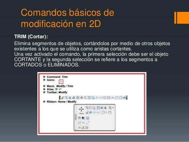 Comandos básicos de modificación en 2D TRIM (Cortar): Elimina segmentos de objetos, cortándolos por medio de otros objetos...