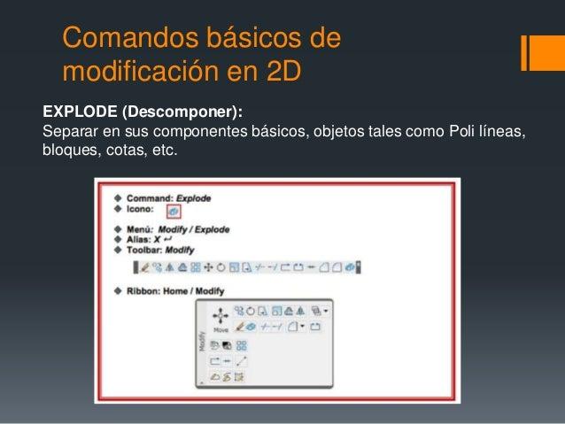 Comandos básicos de modificación en 2D EXPLODE (Descomponer): Separar en sus componentes básicos, objetos tales como Poli ...
