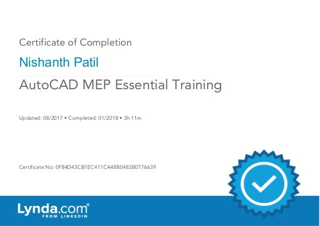 Certificate of Completion : AutoCAD MEP Essential Training