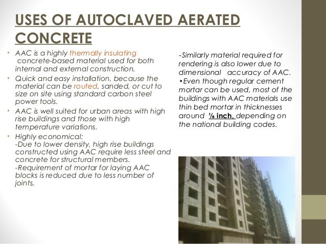 Autoclaved Aerated Concrete : Autoclaved aerated concrete