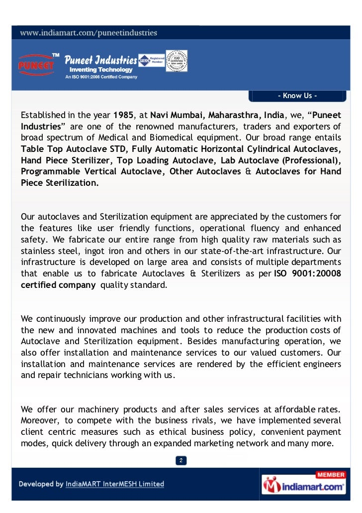 Puneet Industries, Navi Mumbai, Autoclaves and Sterilizers