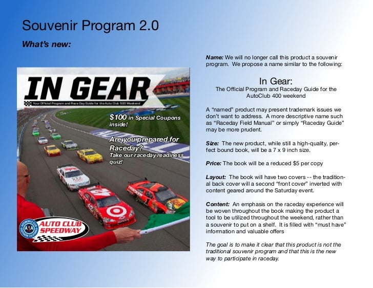 Souvenir Program 2.0What's new:                                           Name: We will no longer call this product a souv...