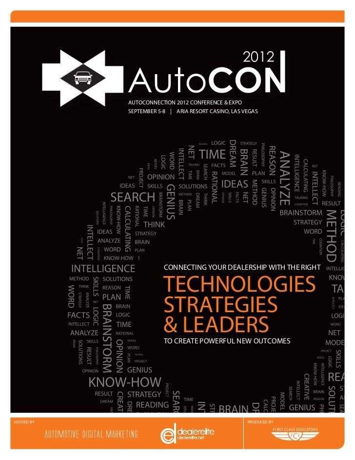 AUTOCONNECTION 2012 CONFERENCE & EXPO            SEPTEMBER 5-8 | ARIA RESORT CASINO, LAS VEGAS                        CONN...