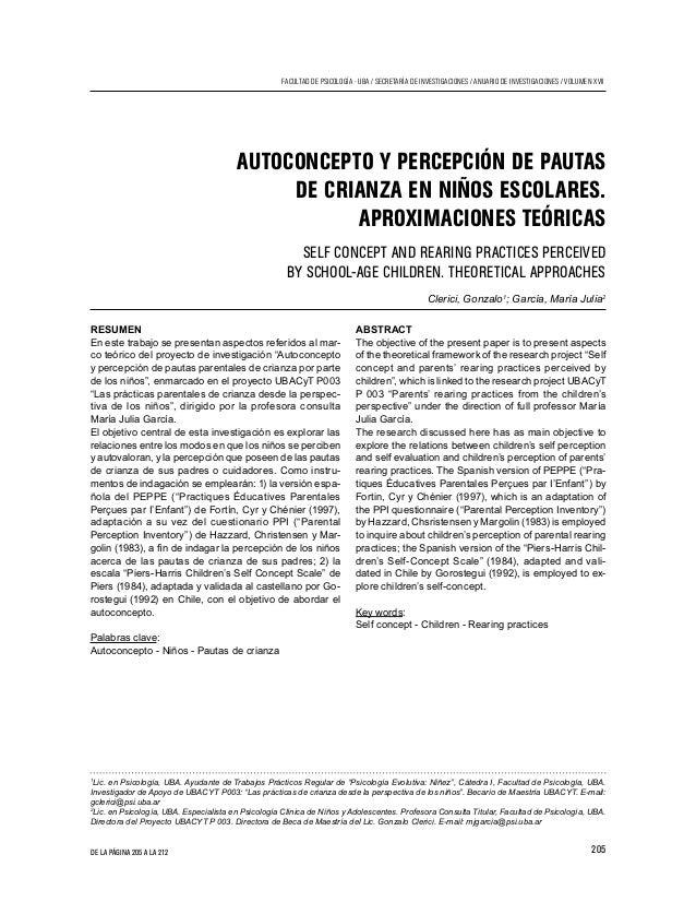 205 FACULTAD DE PSICOLOGÍA - UBA / SECRETARÍA DE INVESTIGACIONES / ANUARIO DE INVESTIGACIONES / VOLUMEN XVII DE LA PÁGINA ...